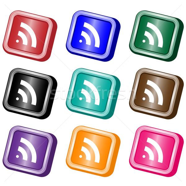 Rss feed internetowych przyciski rss placu zestaw Zdjęcia stock © toots
