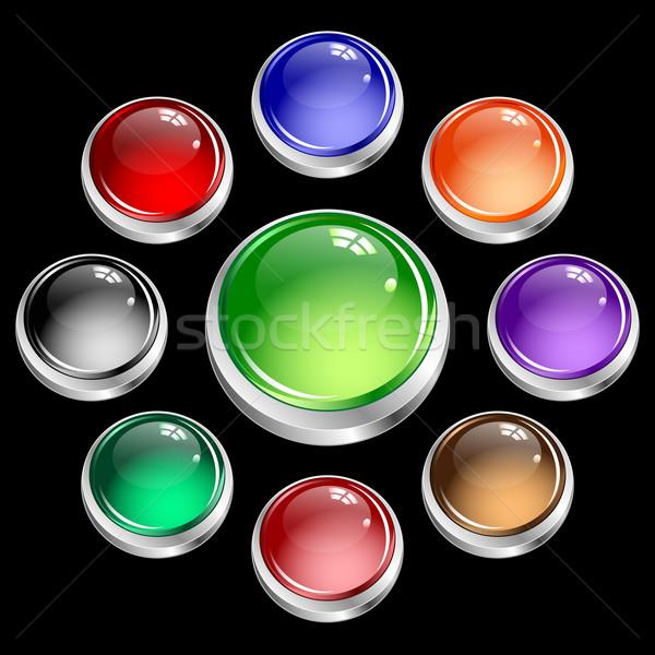 Stockfoto: Web · knoppen · ingesteld · zilver · kleuren · glanzend