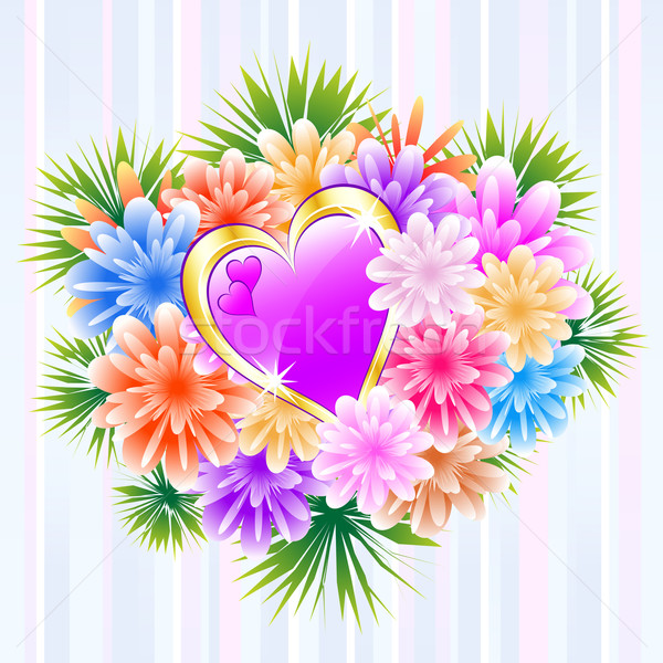 Flower Bouquet with Purple Love Heart Stock photo © toots