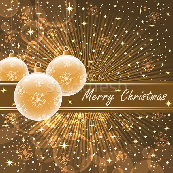 Christmas goud bruin sneeuwvlokken Stockfoto © toots