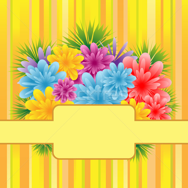 Flowers on striped background Stock photo © toots