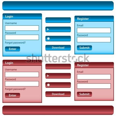 Webデザイン 要素 テンプレート ログイン ボタン メニュー ストックフォト © toots