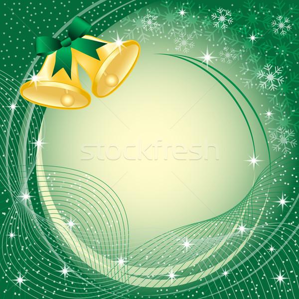 Or Noël vert arc neige étoiles Photo stock © toots