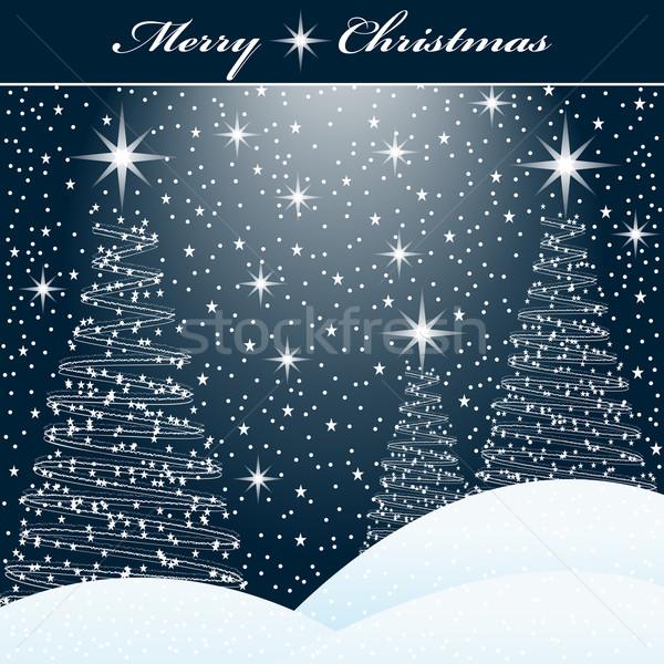 Noël arbres neige scène de nuit étoiles forêt Photo stock © toots