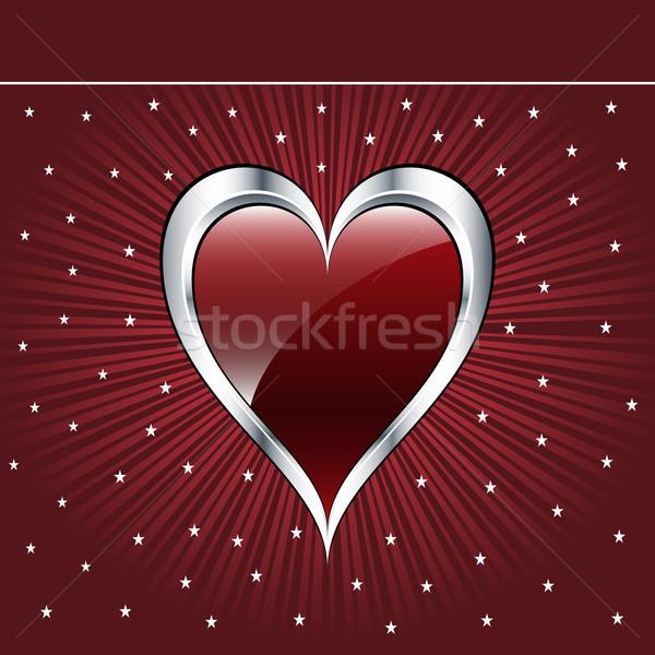 Stockfoto: Valentijn · liefde · hart · donkere · Rood · zilver
