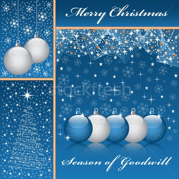 Stockfoto: Kerstmis · boom · Blauw · christmas · sneeuwvlokken