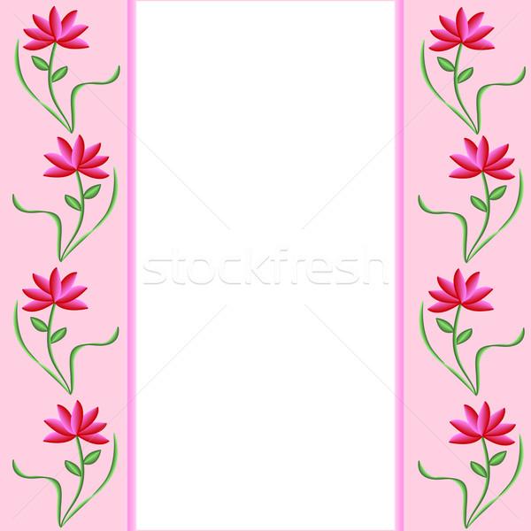 Bloem grens roze mooie rode bloemen Stockfoto © toots