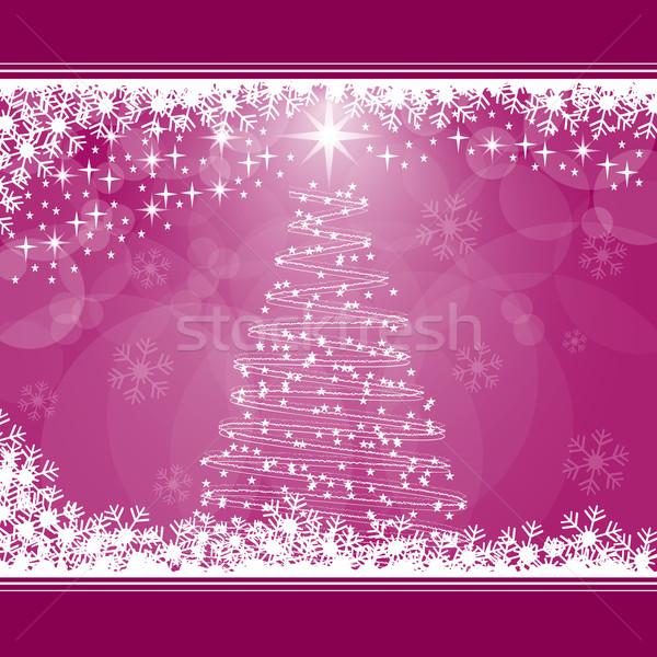 Kerstboom roze sneeuwvlokken sterren exemplaar ruimte tekst Stockfoto © toots