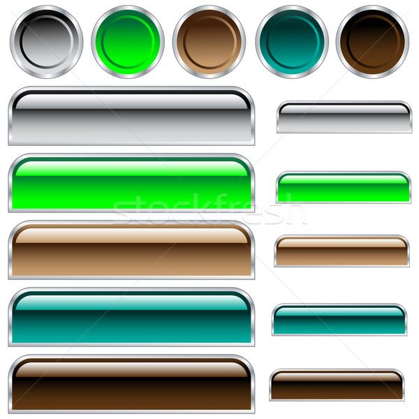 Knoppen cirkels web groene Blauw Stockfoto © toots