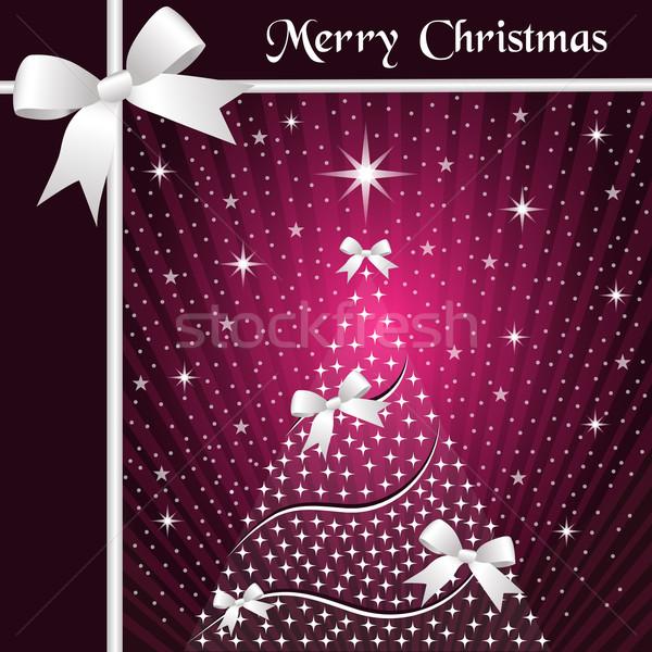 Kerstboom zilver bogen sneeuw sterren Stockfoto © toots
