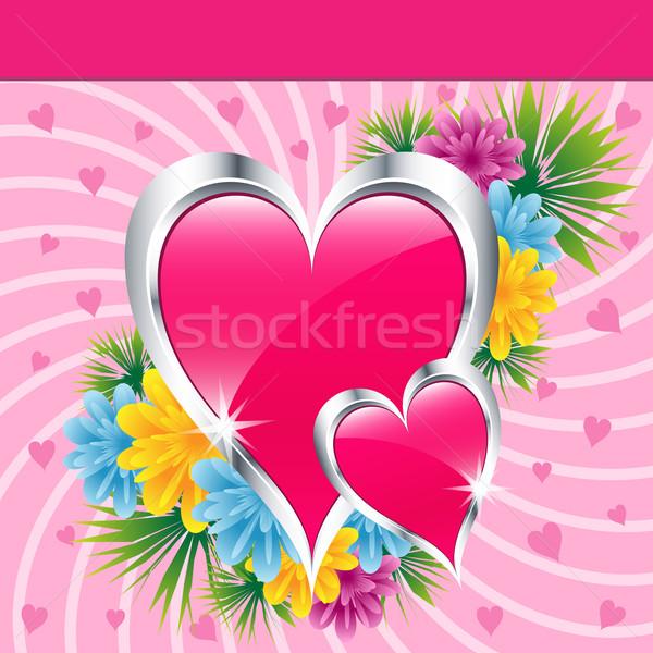Pembe sevmek kalpler çiçekler sevgililer günü anneler Stok fotoğraf © toots
