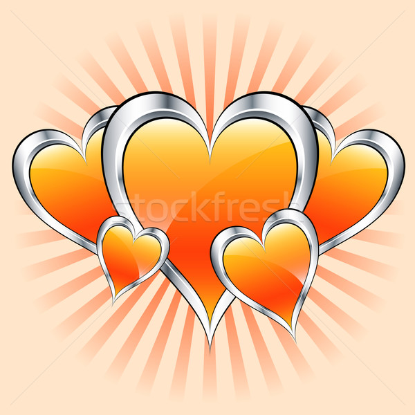 Orange hearts, valentine or mothers day Stock photo © toots