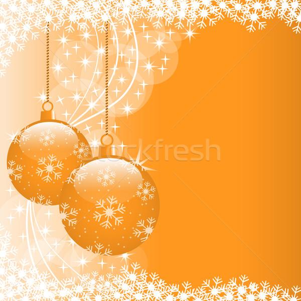 Stock photo: Xmas balls orange