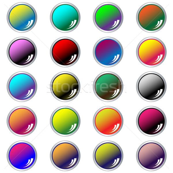 Round web buttons set of 20 in assorted colors Stock photo © toots
