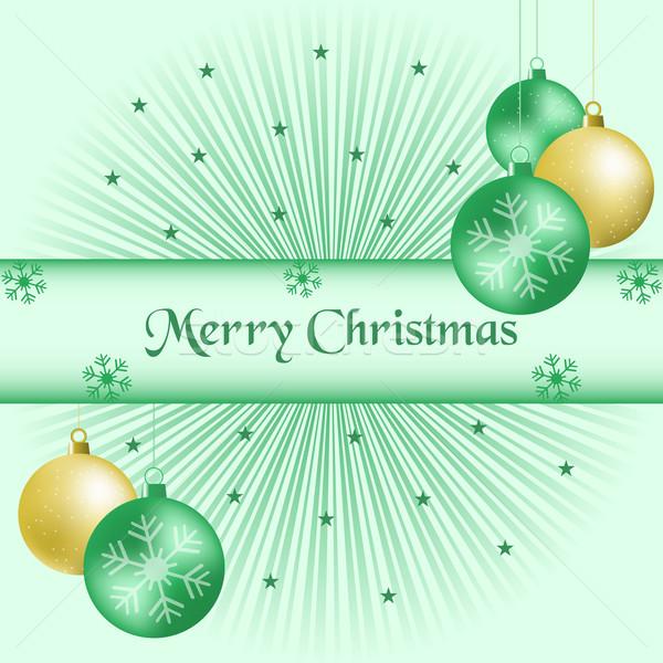 Kerstmis christmas groene goud sneeuwvlokken Stockfoto © toots