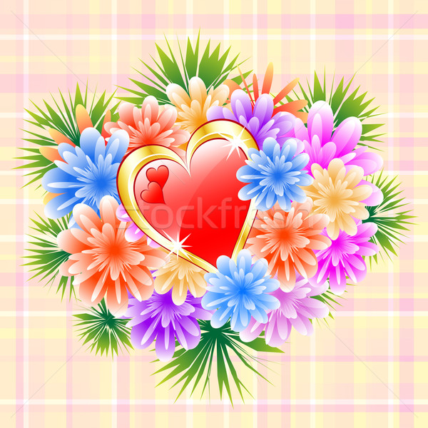 Flower Bouquet with Red Love Heart Stock photo © toots