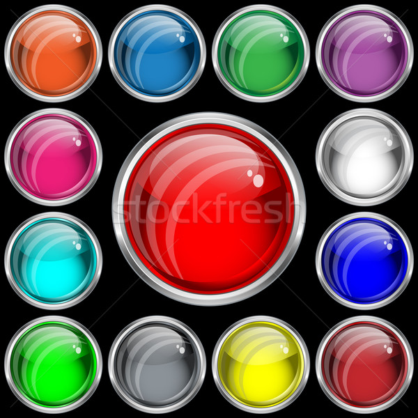 Web buttons with a glass effect in assorted colors. Stock photo © toots