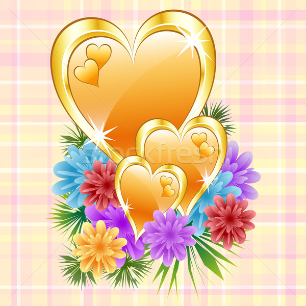 Gold hearts with flowers Stock photo © toots