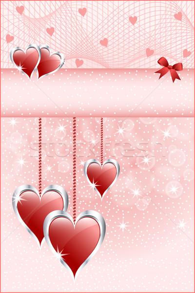 Piros szeretet szívek íj valentin nap anyák Stock fotó © toots