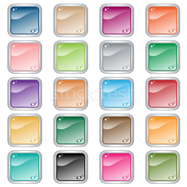 Carré web boutons 20 couleurs Photo stock © toots