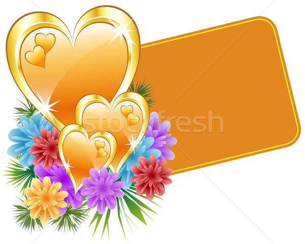 Valentijn goud harten bloemen geschenk tag Stockfoto © toots