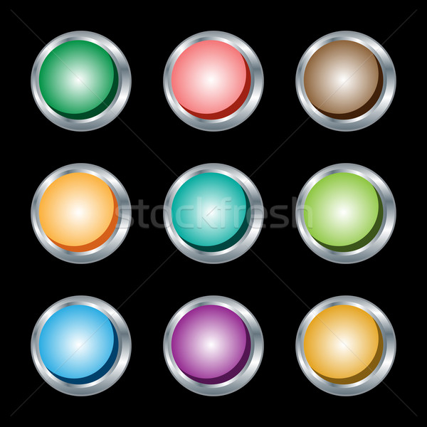 Web boutons argent métallique couleurs isolé Photo stock © toots