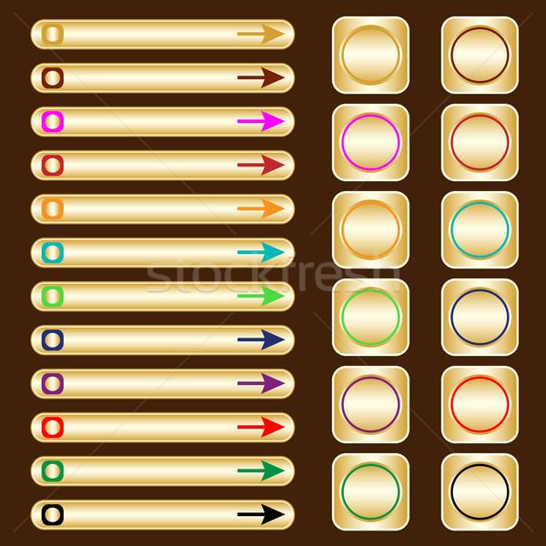 Web knoppen goud gekleurd communie pijlen Stockfoto © toots