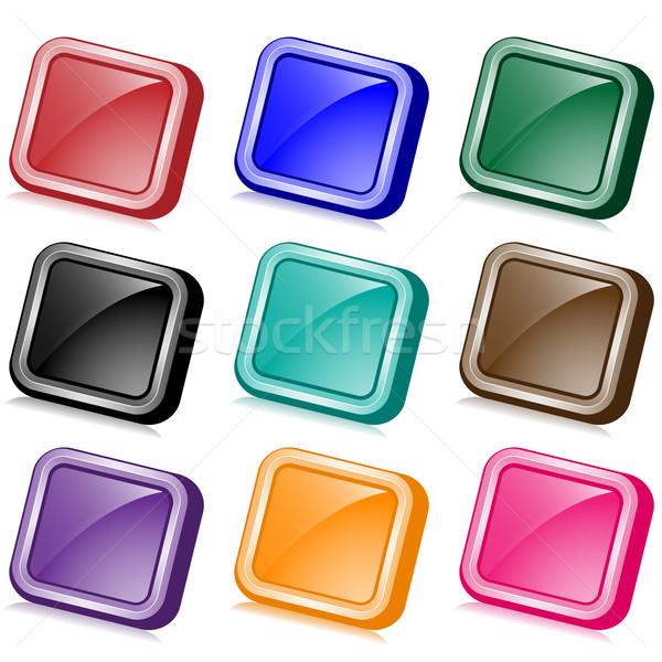 Vierkante web knoppen ingesteld negen kleuren Stockfoto © toots