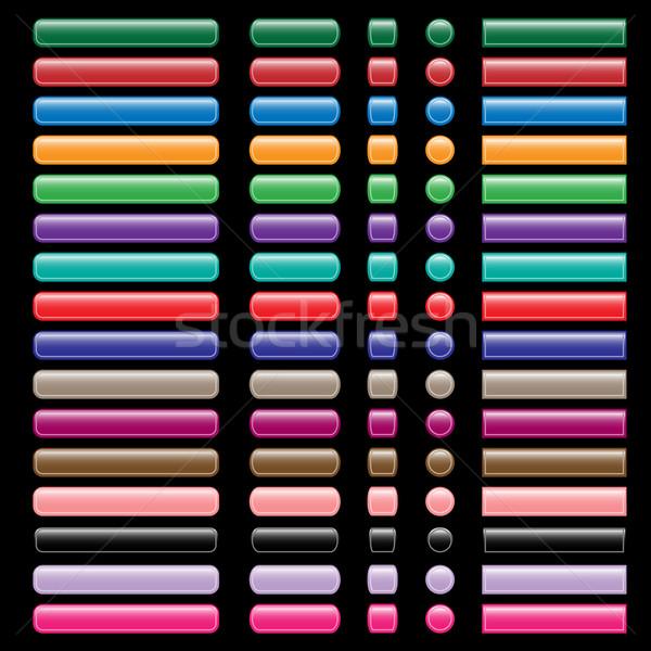 Stockfoto: Web · knoppen · collectie · kleuren · oranje