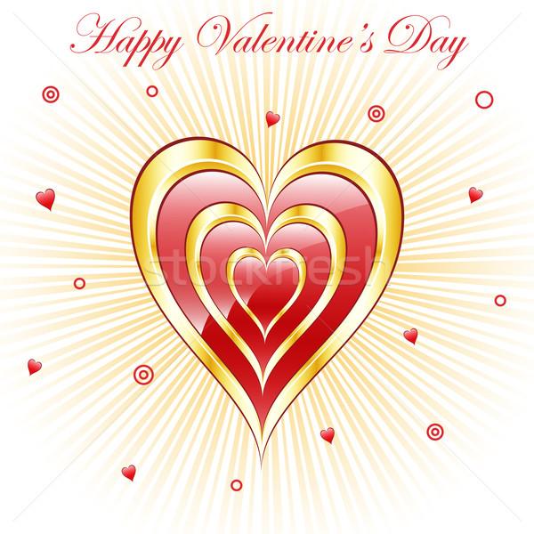 Valentine hearts with sunburst background Stock photo © toots