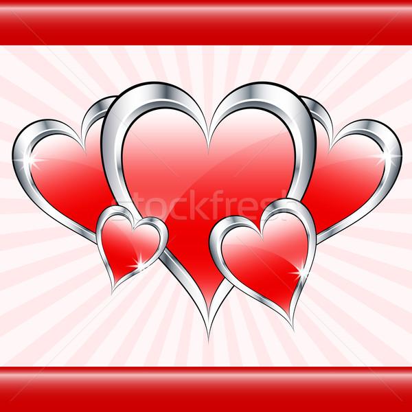 Piros szeretet szívek valentin nap anyák nap Stock fotó © toots