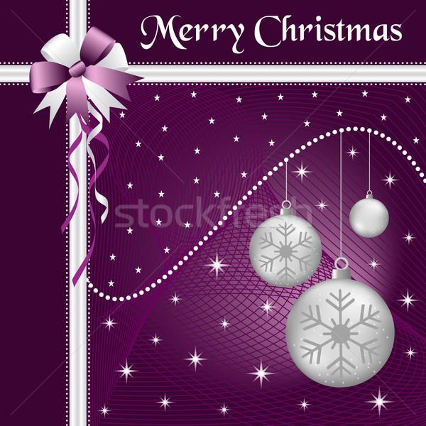 Noël argent arc Noël pourpre Photo stock © toots