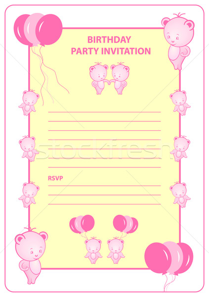 Childs birthday party invitation card Stock photo © toots