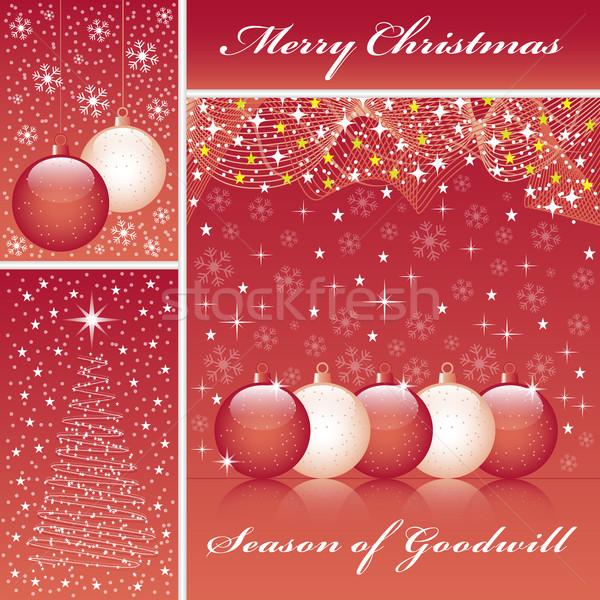 Kerstmis boom Rood christmas sneeuwvlokken Stockfoto © toots