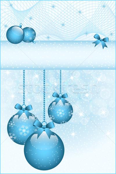 Blauw christmas bogen ingericht sneeuwvlokken Stockfoto © toots