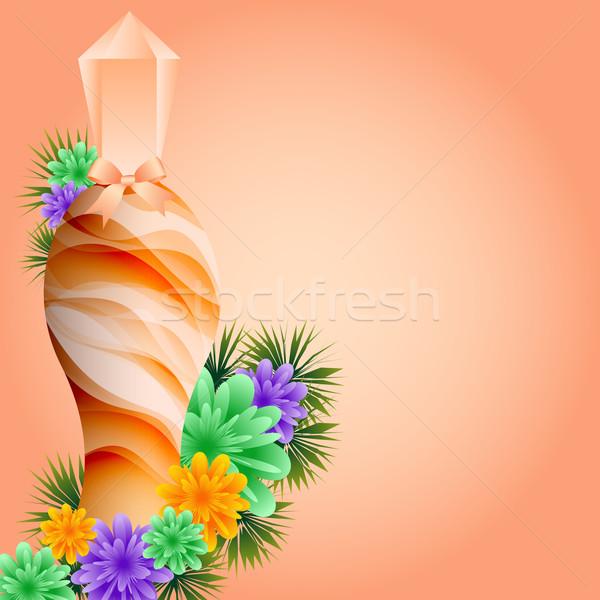 Parfum fles bloemen oranje boeg ingesteld Stockfoto © toots