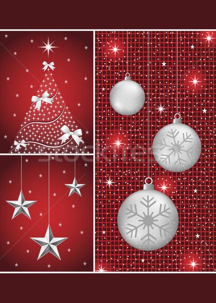 Christmas boom sterren zilver sneeuwvlokken Stockfoto © toots