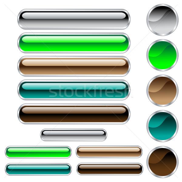 Stockfoto: Knoppen · cirkels · web · groene · Blauw