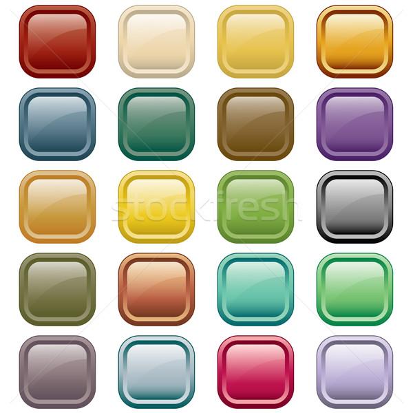 Stockfoto: Web · knoppen · kleuren · 20 · vierkante · geïsoleerd