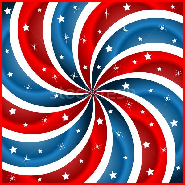 Stock photo: American flag stars and swirly stripes