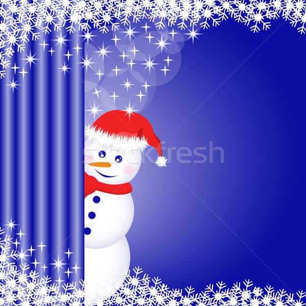 Sneeuwpop achter gordijn sneeuwvlokken sterren diep Stockfoto © toots
