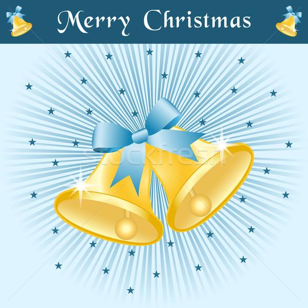 Noël bleu or arcs décoré étoiles Photo stock © toots
