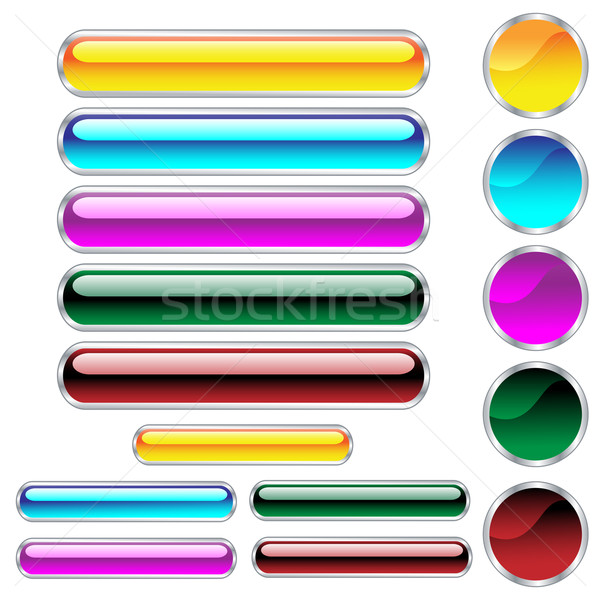 Buttons, scaleable glossy rounded rectangles and circles in asso Stock photo © toots