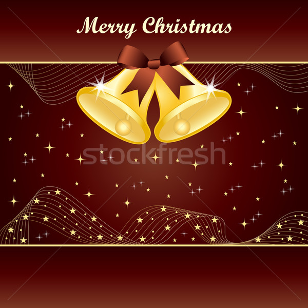 Gold christmas bells on brown Stock photo © toots