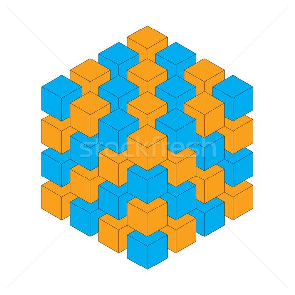 Küp mavi turuncu üç boyutlu iş arka plan Stok fotoğraf © toponium