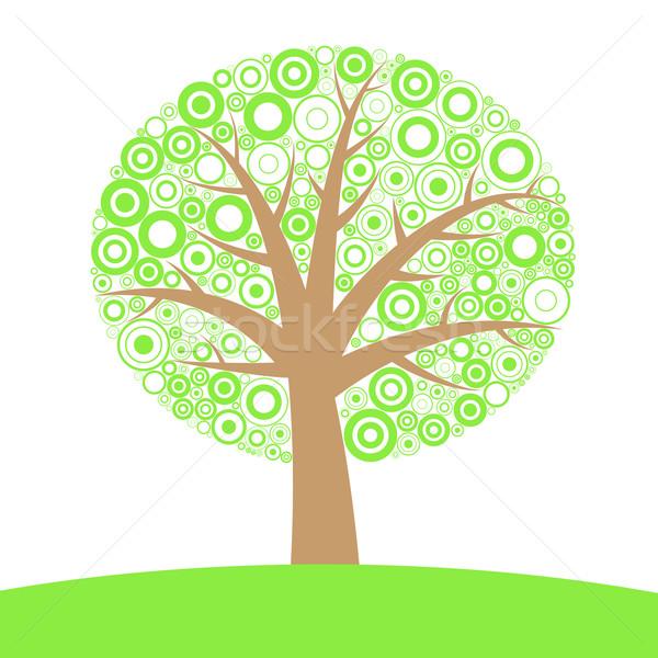 Soyut ağaç siluet circles bahar ahşap Stok fotoğraf © toponium