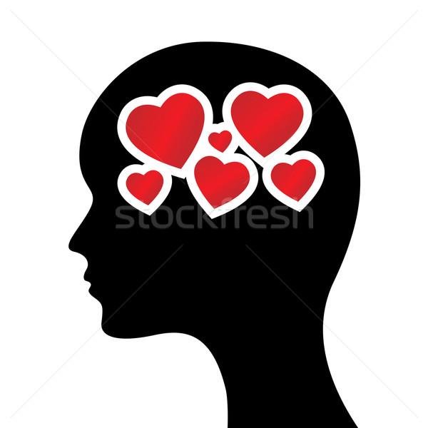 Corações cabeça silhueta casamento coração modelo Foto stock © toponium