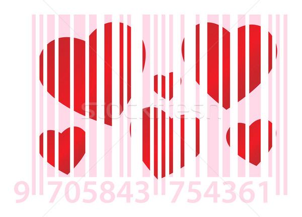 Pembe kalpler kırmızı beyaz kâğıt sevmek Stok fotoğraf © toponium
