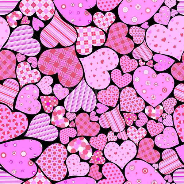 Foto stock: Sem · costura · corações · casamento · projeto · arte · grupo