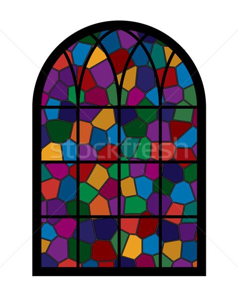 Pencere renkli cam mozaik ev soyut Stok fotoğraf © toponium